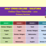 2021 Primary Online Timetable